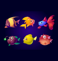 sea fish tropical colorful aquarium creatures set vector image
