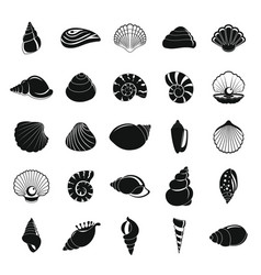 Sea shell icons set simple style vector