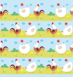 Seamless pattern chicken family vector