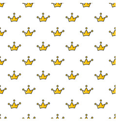 seamless pattern with hand drawn crowns on white vector image