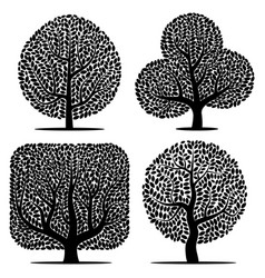 set of four silhouettes vector image