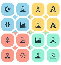 set of simple religion icons elements chaplain vector image
