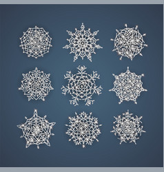 Set of snowflakes with glittering textures vector