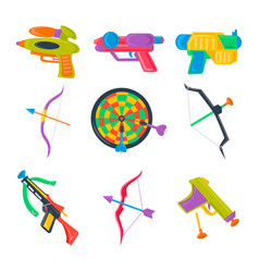 Set of water pistol bow crossbow darts vector