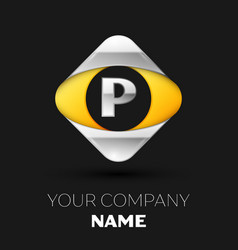 silver letter p logo in the silver-yellow square vector image