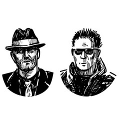 Sketches portraits two serious men vector
