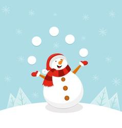 Snowman Juggling Snowballs vector