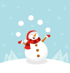 Snowman Juggling Snowballs vector image