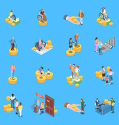 Social benefits icon set vector
