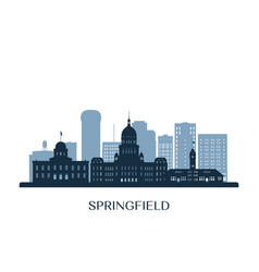springfield skyline monochrome silhouette vector image