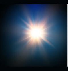Star on a blue backgroundbright flashrealistic vector