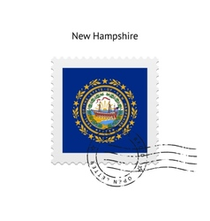 State of New Hampshire flag postage stamp vector
