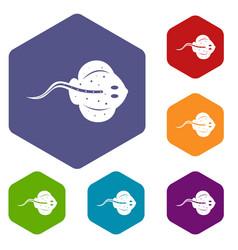Stingray fish icons set hexagon vector