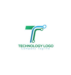 t letter technology logo vector image