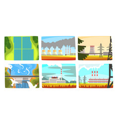 traditional and innovative ecological energy vector image
