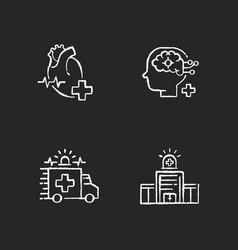 Urgent health care chalk white icons set on black vector