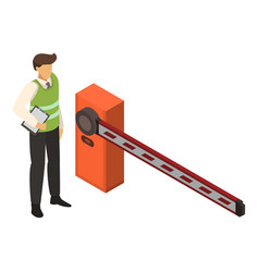 Valet man at barrier icon isometric style vector