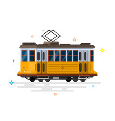 vintage tram retro tram detailed tram vector image