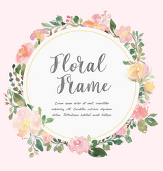 Watercolor floral frame design vector