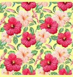 Watercolor tropical hibiscus pattern vector