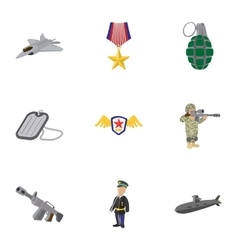 Weaponry icons set cartoon style vector image