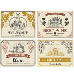 wine labels vintage images for labels old vector image