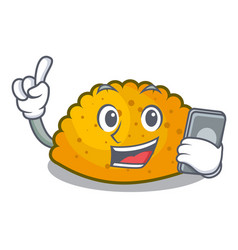With phone character jamaican patties on the grill vector