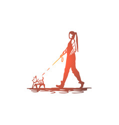 woman pet dog walk leash concept vector image