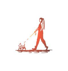 Woman pet dog walk leash concept vector