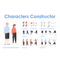 Young couple front view animated flat characters vector