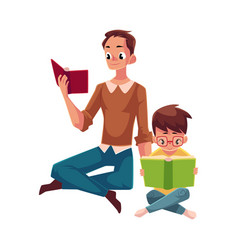 Young man and little boy reading books sitting vector