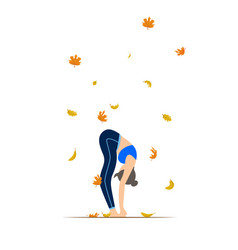 young woman doing yoga autumn leaves background vector image
