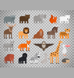 Zoo animals set on transparent background vector