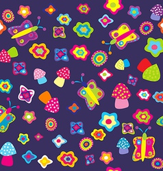 Childish background with flowers butterflies and vector image vector image