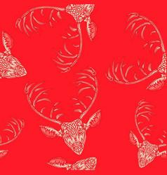 deer heads seamless pattern vector image vector image