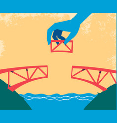 hand complete the bridge with the last piece vector image