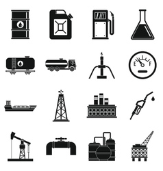 Oil industry items icons set simple style vector