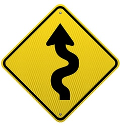 Winding road sign on white background vector image vector image