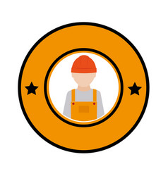 color circular emblem with worker with helmet vector image