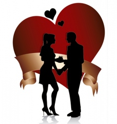 couple silhouette with heart a vector image vector image
