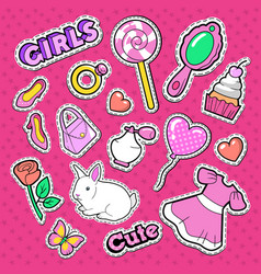 cute girl fashion stickers patches and badges vector image vector image
