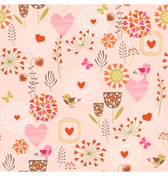 Hearts and flowers pattern vector image