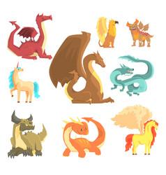 mythological animals set for label design dragon vector image