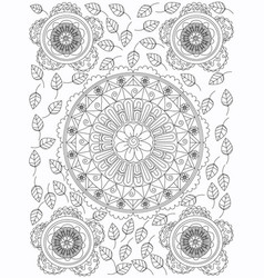 Mandala flower coloring for adults vector