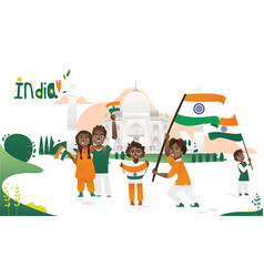 People with indian flags taj mahal india poster vector
