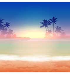 Sea sunset with palm trees vector image