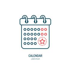 calendar line icon logo for event vector image