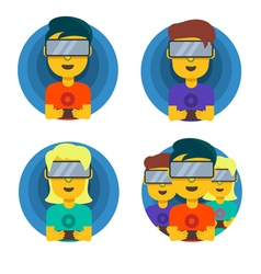 Children playing in the virtual reality vector image