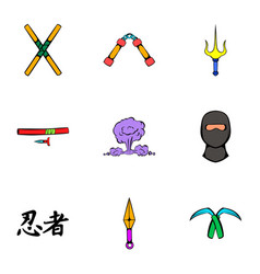 fast ninja icons set cartoon style vector image