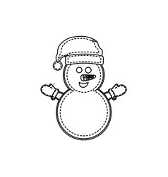 figure snowman with hat and gloves vector image vector image